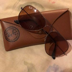 Ray Ban Light Brown With Pink Tint Aviators